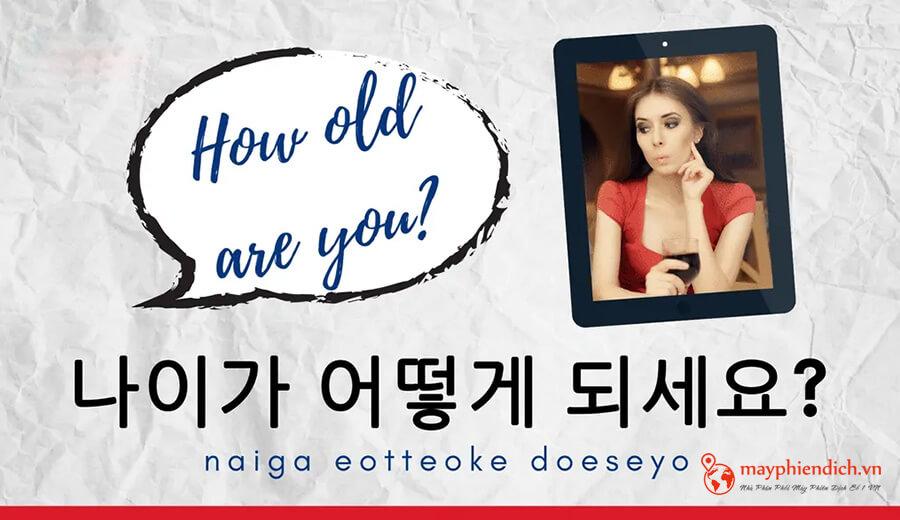 hỏi số tuổi trong tiêng Hàn phổ biến