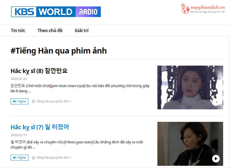 Kênh KBS luyện nghe tiếng Hàn qua phim ảnh