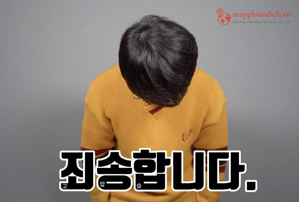 Dịch xin lôi sang tiếng Hàn Quốc ở dạng kính ngữ